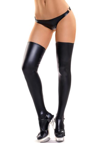 Чулки  Glossy Lotis Stockings  с имитацией под кожу,  wet-look, черные, разм. S