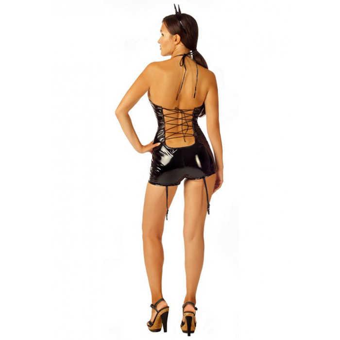 Ролевой костюм Огненная Дьяволица: лаковый комбинезон-шортики, рожки, манжеты, черный,  разм. S/M