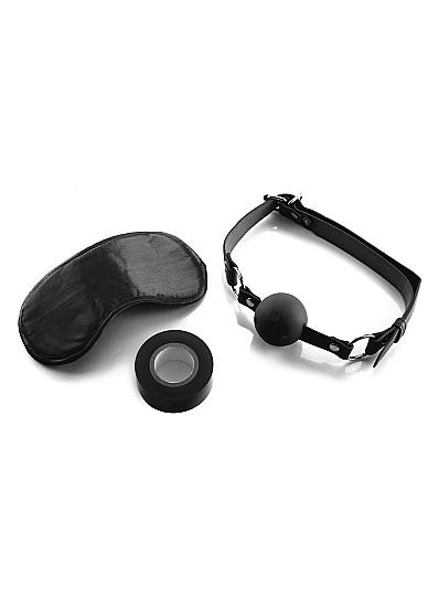 Набор для бондажа BONDAGE SET OUCH!: маска, кляп, лента для связывания, черный