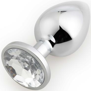 АКЦИЯ 20%! Крупная анальная пробка RUNYU ROSEBUD BUTT  LARGE  серебряная с прозрачным кристаллом, 9,5х4 см