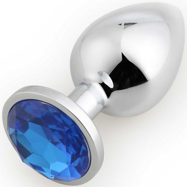 АКЦИЯ 20%! Крупная анальная пробка RUNYU ROSEBUD BUTT LARGE серебряная с синим кристаллом, 9,5х4 см