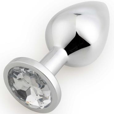 АКЦИЯ 20% Анальная пробка средняя RUNYU ROSEBUD BUTT MEDIUM серебряная с прозрачным кристаллом, 8,2х3,4 см