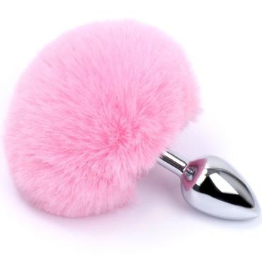 АКЦИЯ 25%! Анальная пробка RUNYU BUNNY TAIL PLUG с кроличьим розовым хвостиком, серебряная, 7х2,8 см