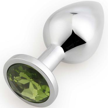 АКЦИЯ 20% Анальная пробка средняя  RUNYU ROSEBUD BUTT MEDIUM серебряная с  зеленым кристаллом, 8,2х3,4 см