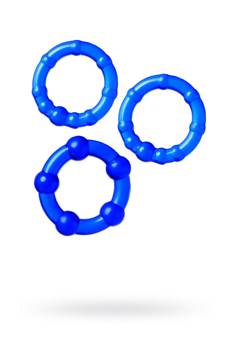 Набор эрекционных колец, силикон, синие, 3 шт.