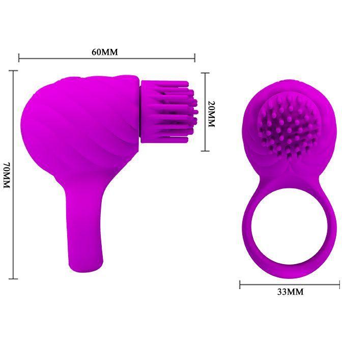 АКЦИЯ 15%! Перезаряжаемое эрекционное кольцо с ротационным стимулятором клитора FLORENCE,  3 режима, силикон, фуксия, 6х3,5 см