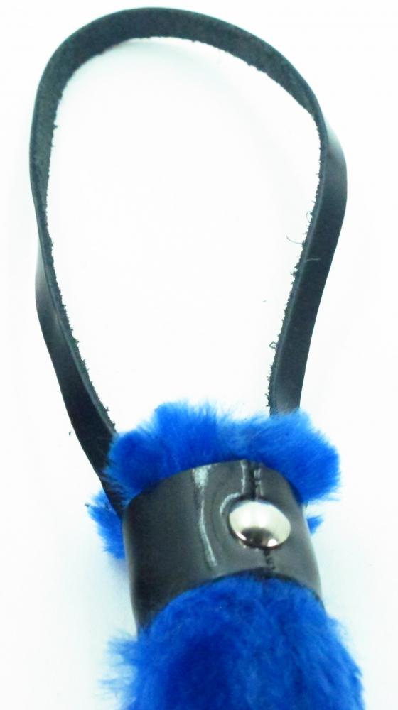 АКЦИЯ 10%! Плеть  BDSM  LIIGHT лаковая эко-кожа с синим мехом, 16+27 см