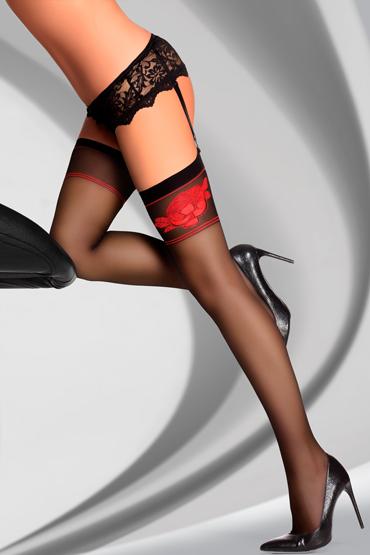 Чулки LivCo Corsetti Fashion  рисунок с бархатным напылением, разм.S