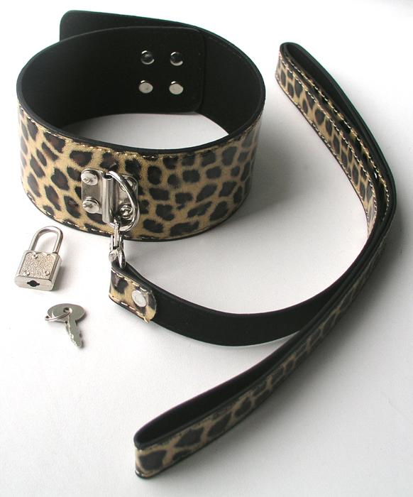 Ошейник с поводком Золотой леопард, с замочком и ключиками