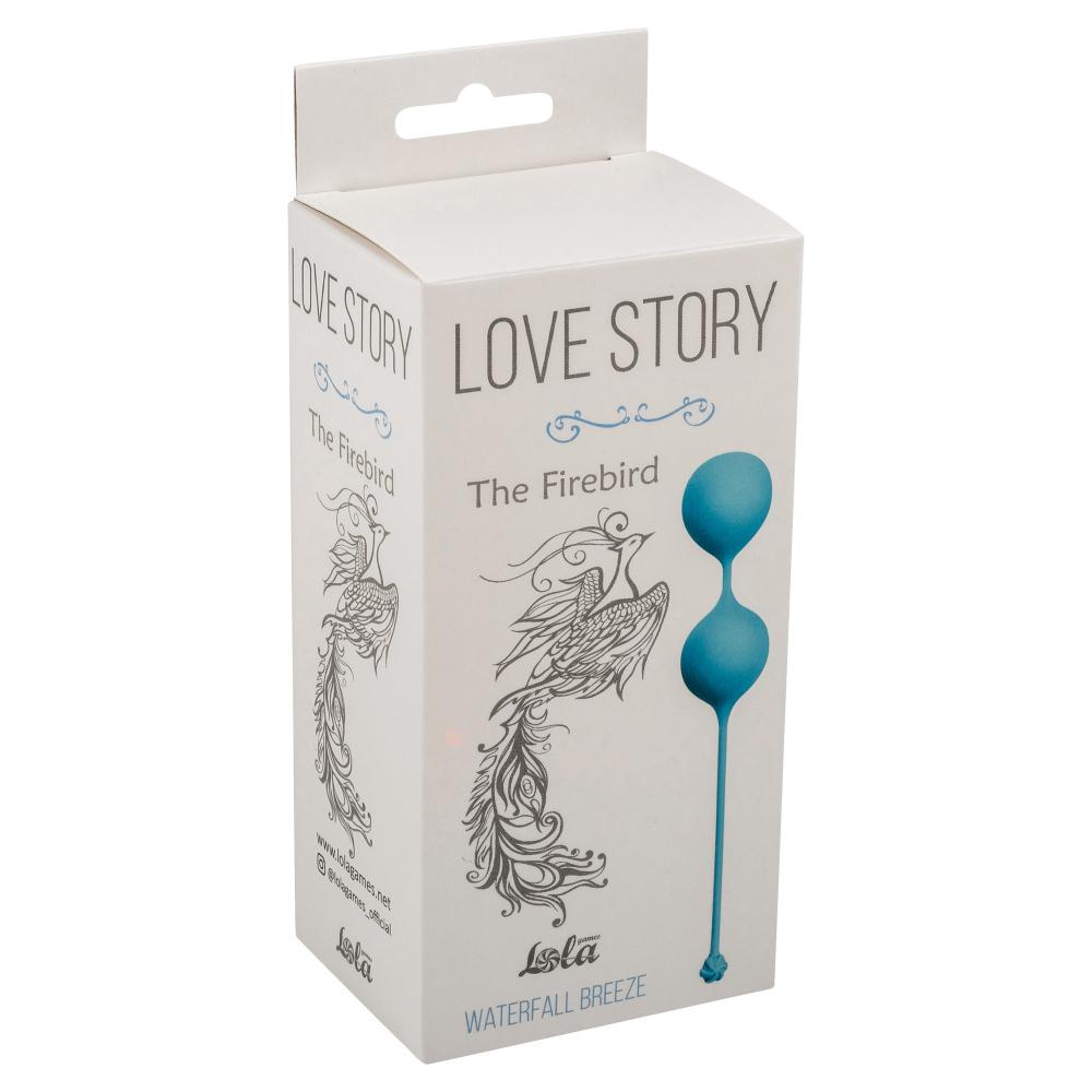 Вагинальные шарики LOVE STORY THE FIREBIRD WATERFALL BREEZE, силикон, голубые, 3,4 см