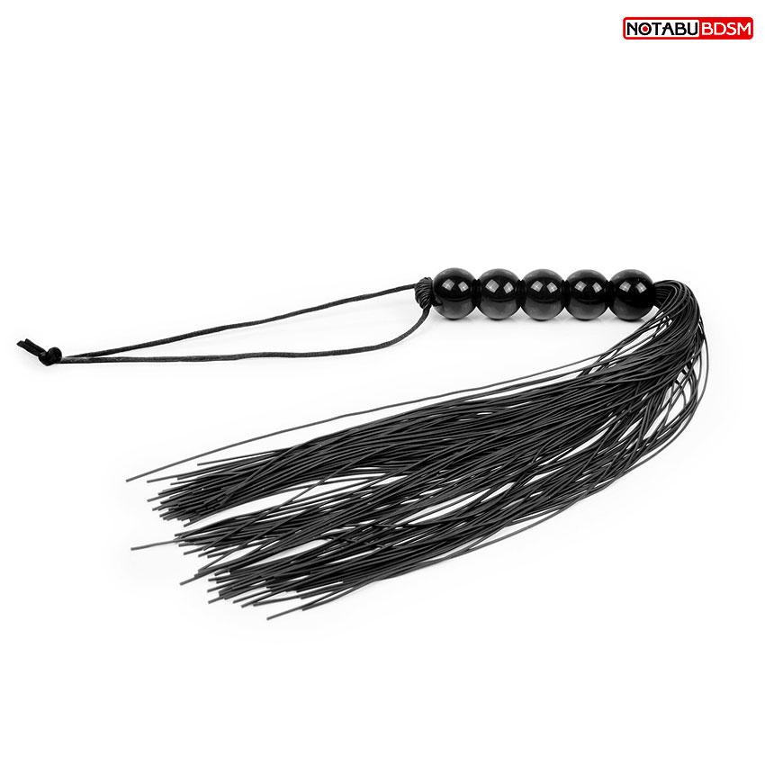 Плетка, ручка-шарики, длина ручки 10 см, длина  хвоста 25 см, цвет чёрный