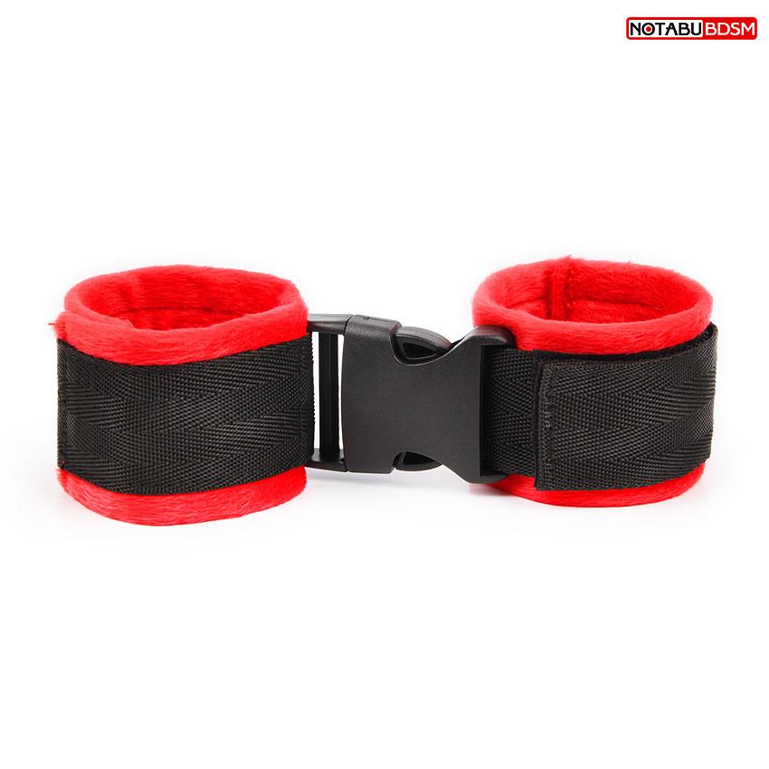 Наручники с застежкой и липучками, цвет чёрный/красный