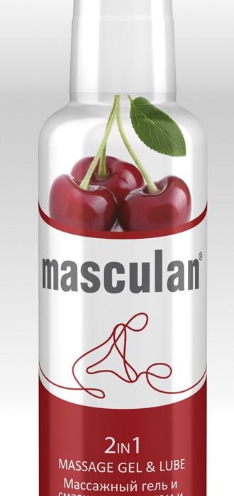Массажный гель+ смазка MASCULAN с ароматом и вкусом ВИШНИ, 2 в 1, с дозатором, 130 мл