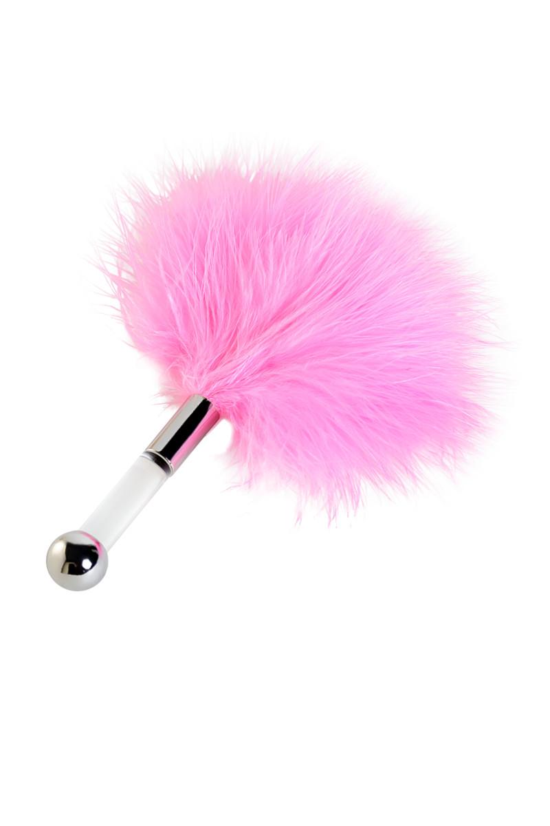 Щекоталка малая пуховая, розовая, 13 см