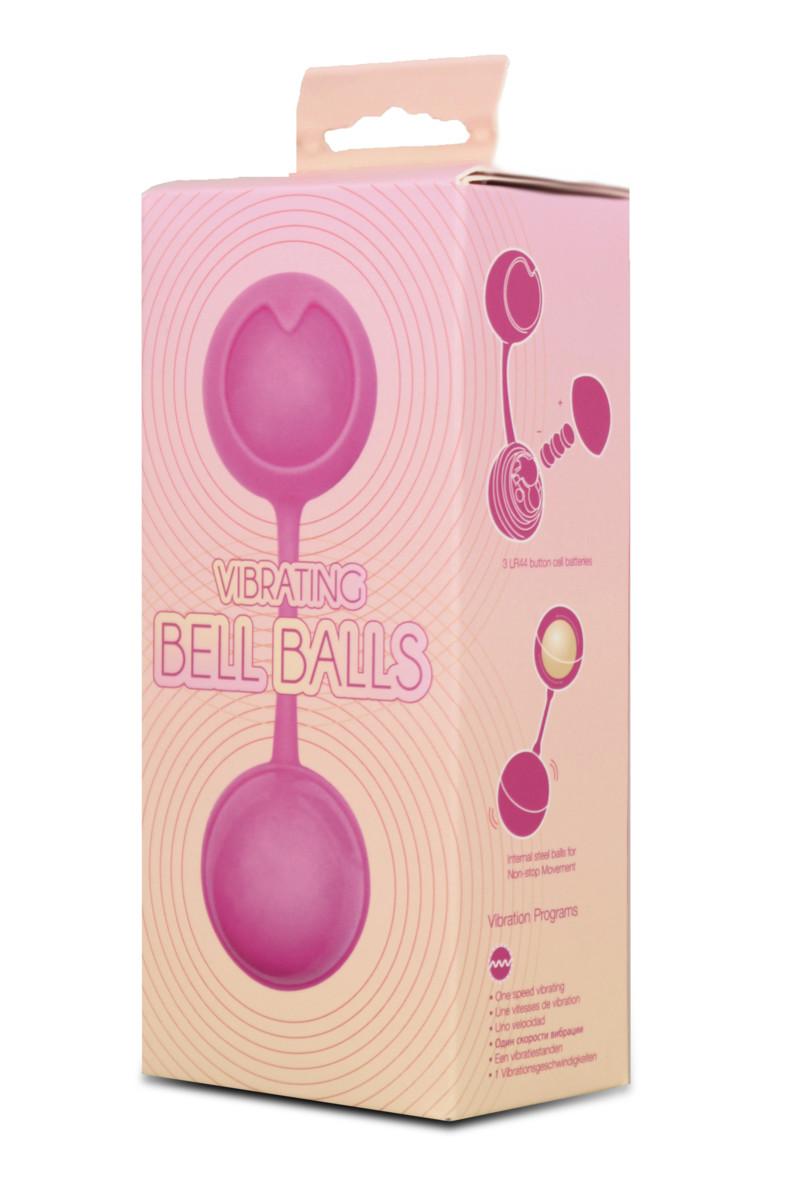 Розовые вагинальные шарики BELL BALLS от SEVEN CREATIONS с вибрацией, силикон+АВС-пластик,  3,5 см