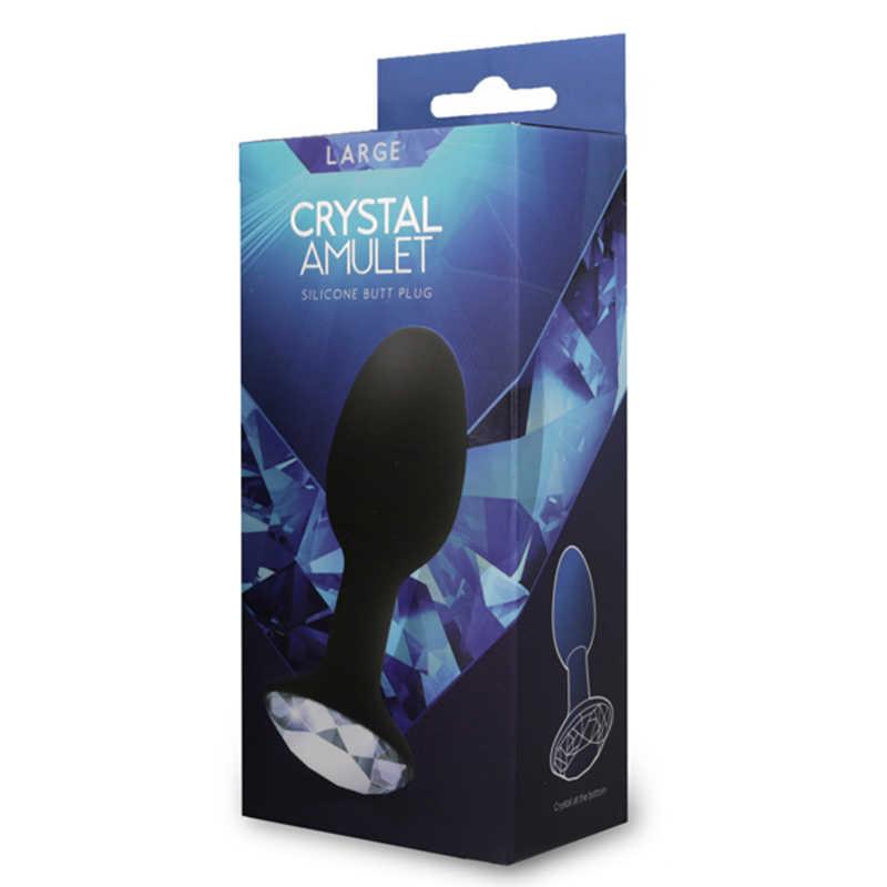 Анальная пробка с прозрачным кристаллом в основании CYSTAL AMULET, черная, 10,7х3,5см