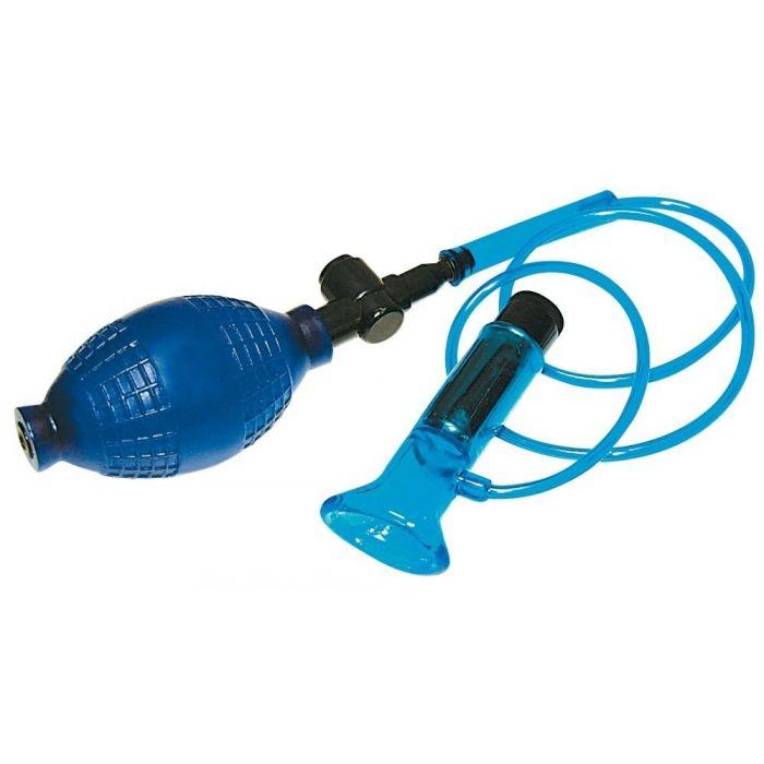 Помпа для клитора UNIVERSAL SUCKER с вибрацией, силикон+АВС-пластик, синяя, 8,5х3 см