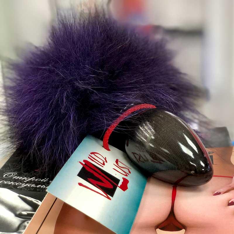 АКЦИЯ 25%Анальная пробочка с фиолетовым заячьим хвостиком, 7х3 см