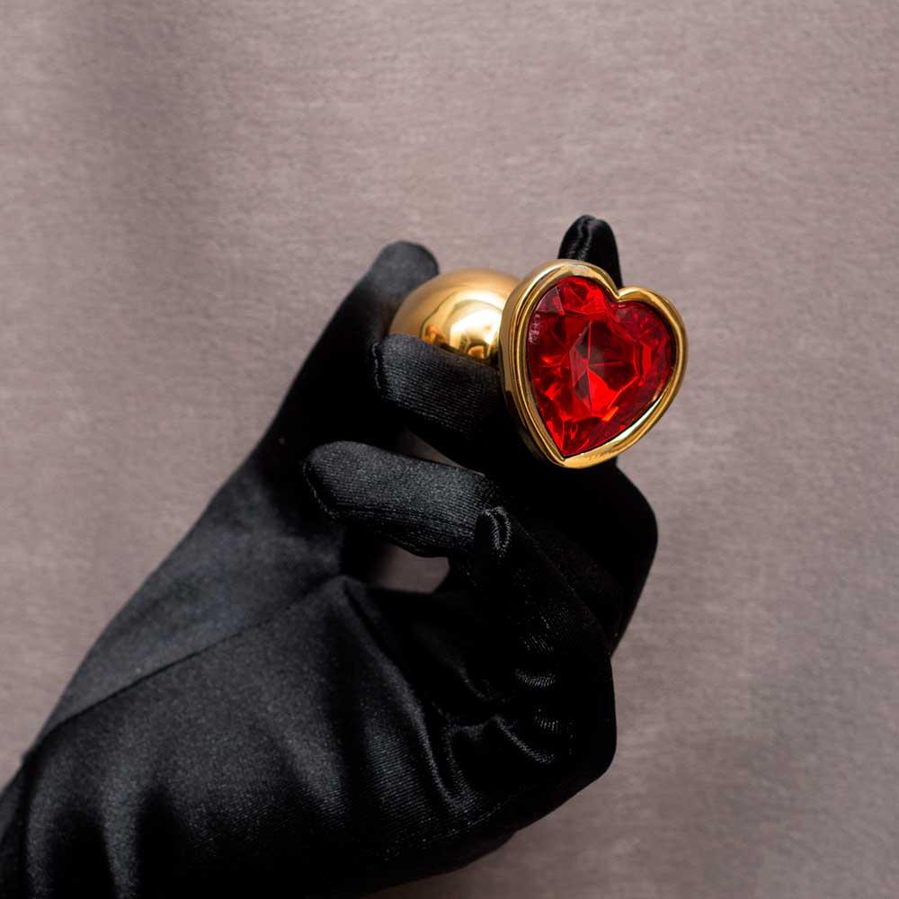 АКЦИЯ 20% Анальная пробка RUNYU ANAL PLUG HEART SMALL, золотая с рубиновым кристаллом-Сердечко, 7,5х2,8 см