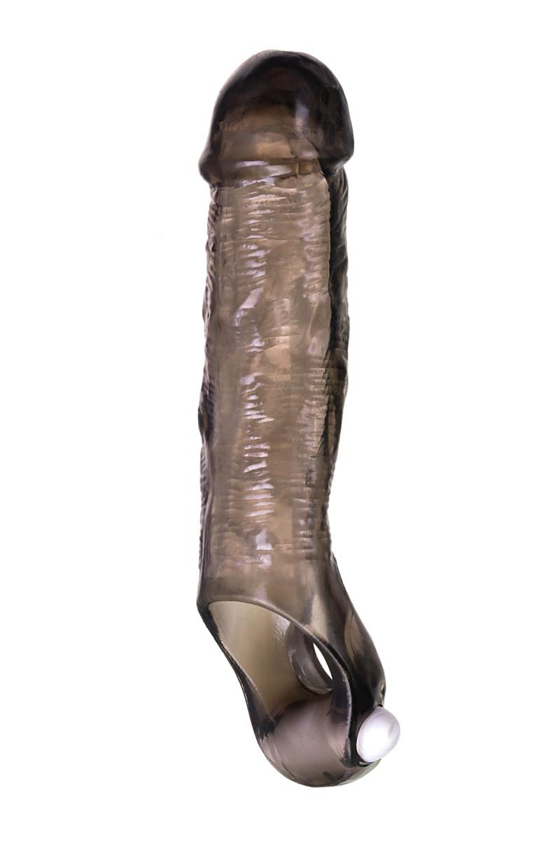 Удлиняющая насадка TOYFA XLOVERS с вибрацией, эластомер, черная, 12 см
