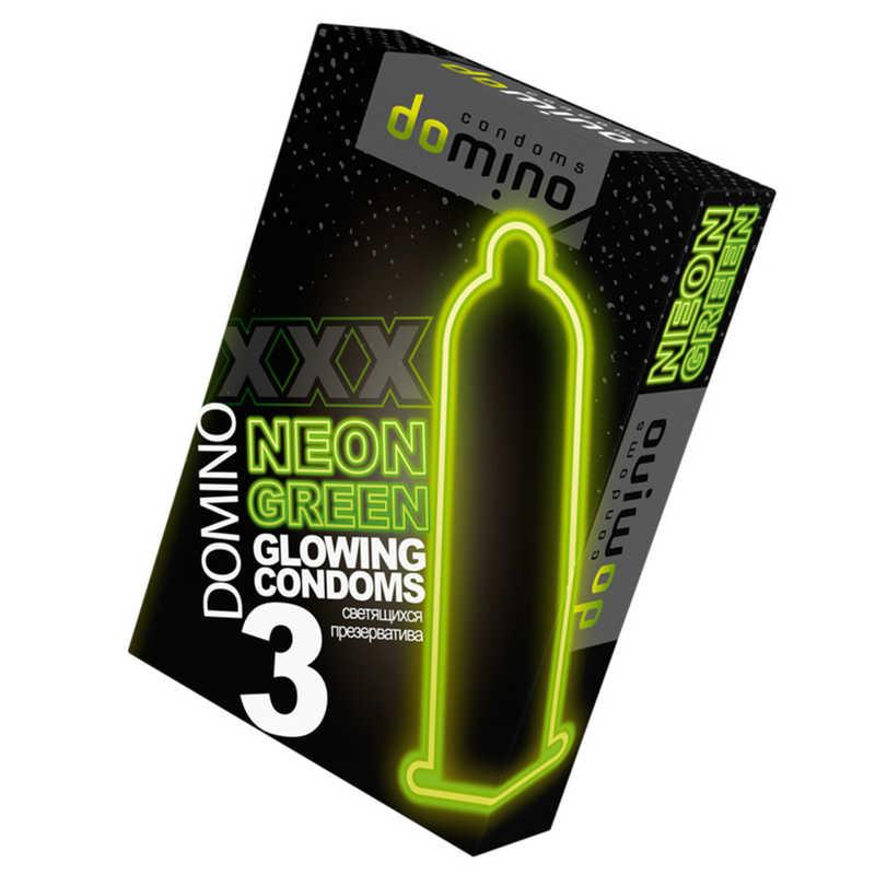 Презервативы Luxe DOMINO NEON GREEN  светящиеся, 3 шт.