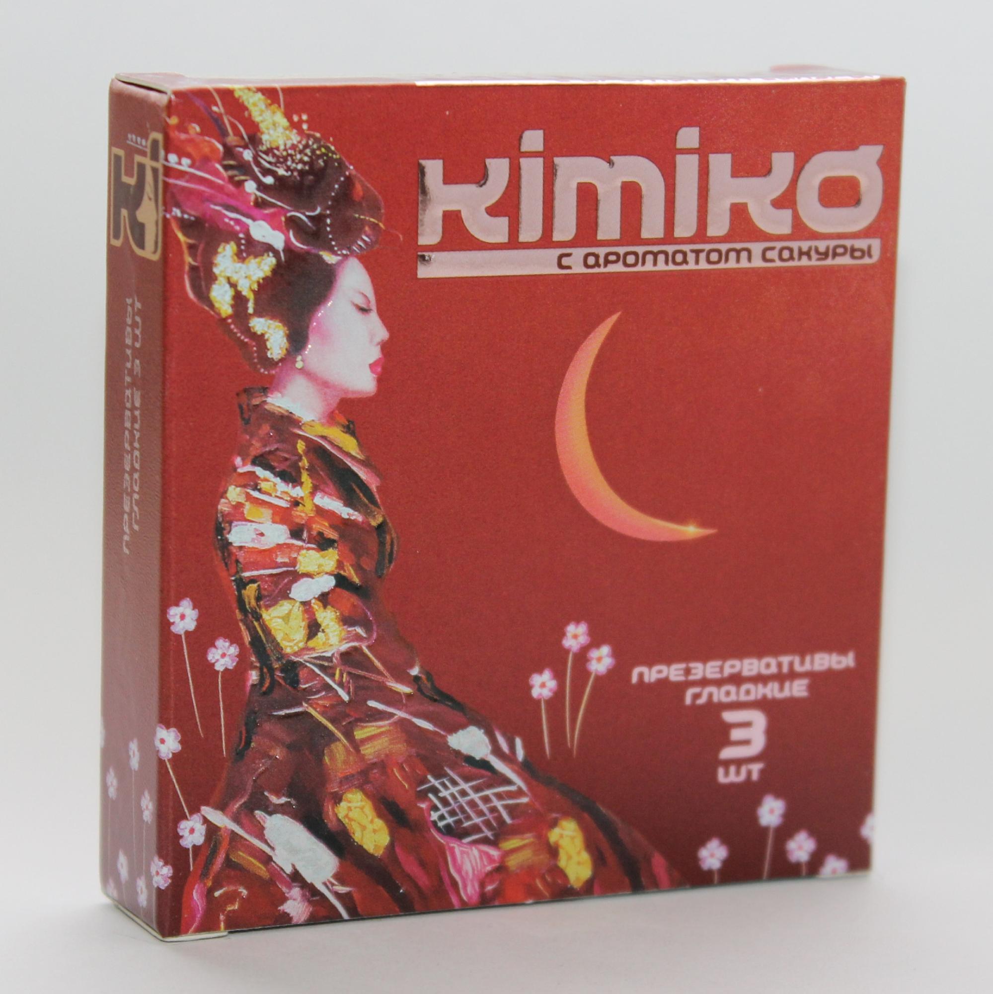 Презервативы KIMIKO  с ароматом сакуры,  3 шт.