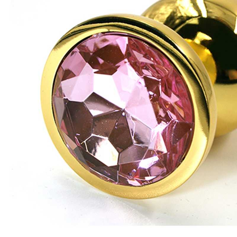 Облегченная золотая анальная пробка с нежно-розовым кристаллом, Small, 6х2,8 см