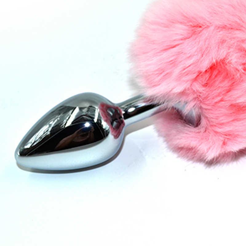 Анальная пробка KANIKULE с розовым заячьим хвостиком, серебристая, общая длина 11,5 см