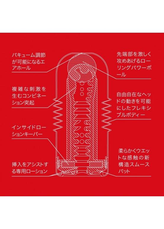 Мастурбатор TENGA ROLLING HEAD с подвижной головкой, красный,15х5 см