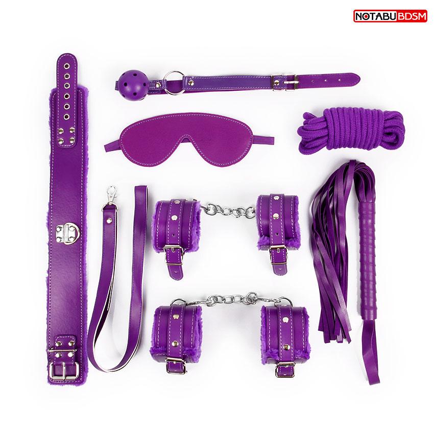 АКЦИЯ 20%! НАБОР  - маска, кляп, плётка, ошейник, наручники, оковы, верёвка,  цвет фиолетовый
