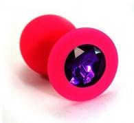 Анальная малая пробка розовая, силикон, цвет кристалла - фиолетовый, 7,2х3,5 см