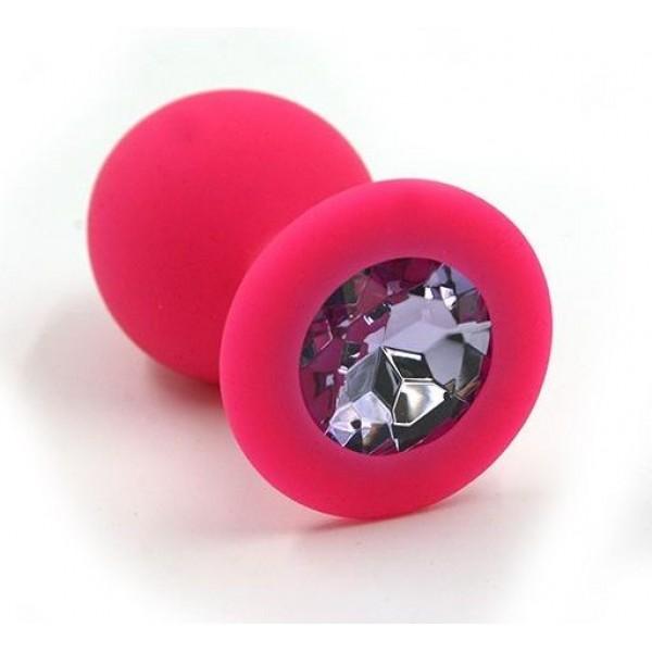 Анальная пробка средняя DARK PINK розовая, со светло-розовым кристаллом, 8х3,5 см