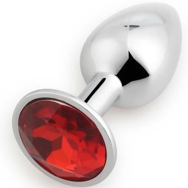 АКЦИЯ 20% Анальная пробка RUNYU ROSEBUD BUTT SMAILL, серебряная с красным  кристаллом 7,2х2,8 см