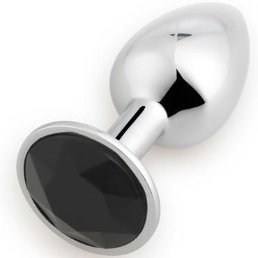 АКЦИЯ 20% Анальная пробка RUNYU ROSEBUD BUTT SMAILL, серебряная с черным кристаллом 7,2х2,8 см