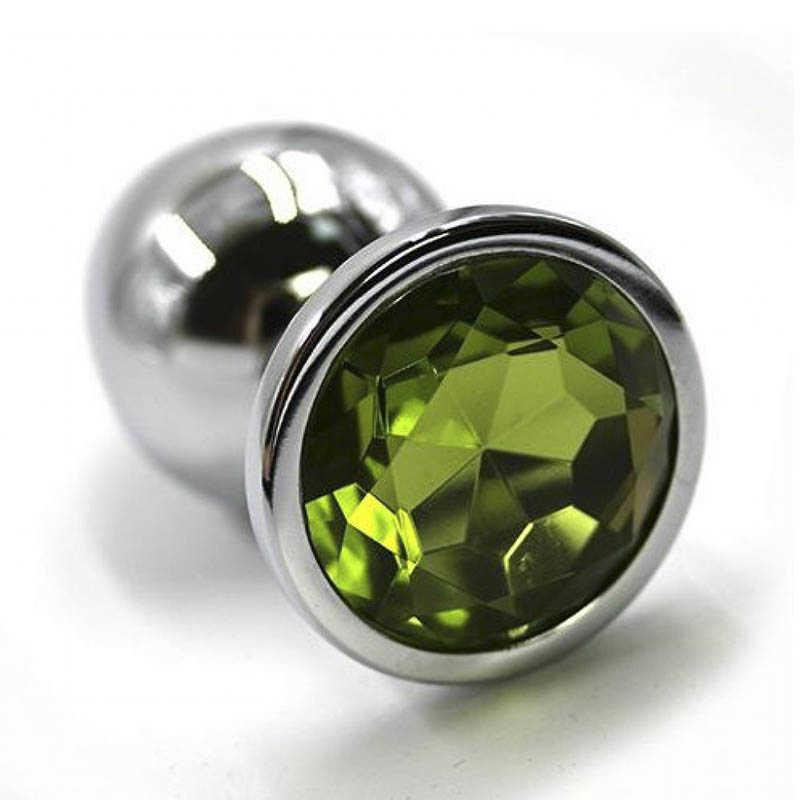 Анальная втулка средняя, серебряная со светло-зеленым  стразом, 8х3,3 см