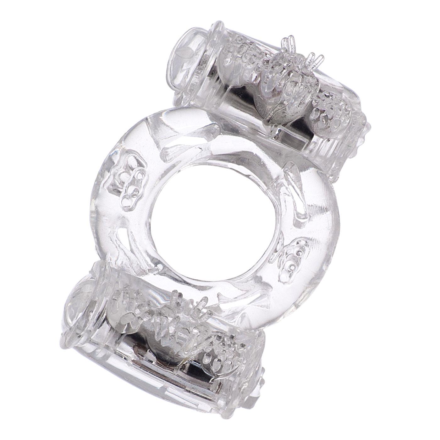 Эрекционное кольцо на пенис с двойной вибрацией TOYFA,TPE, цвет - прозрачный