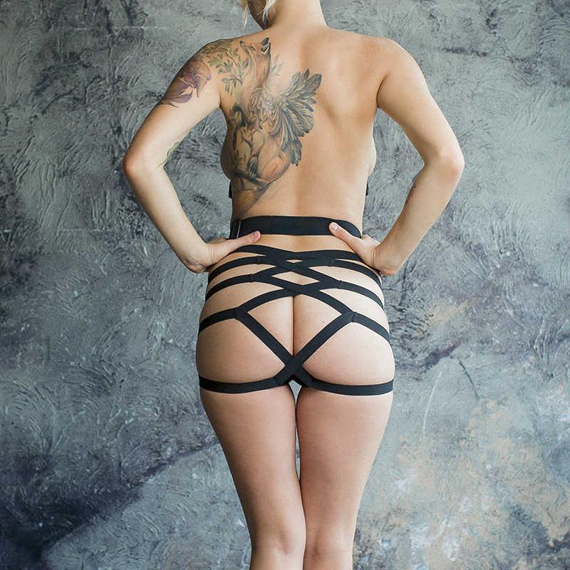 Трусики для страпона NO MERCY ROUGHLY в форме ажурной юбочки, черные, разм.S/M, M/L