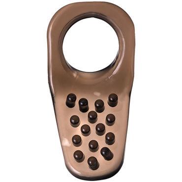 Эрекционное кольцо с клиторальной щеточкой от TOYFA XLover, цвет черный, 4х2,5 см