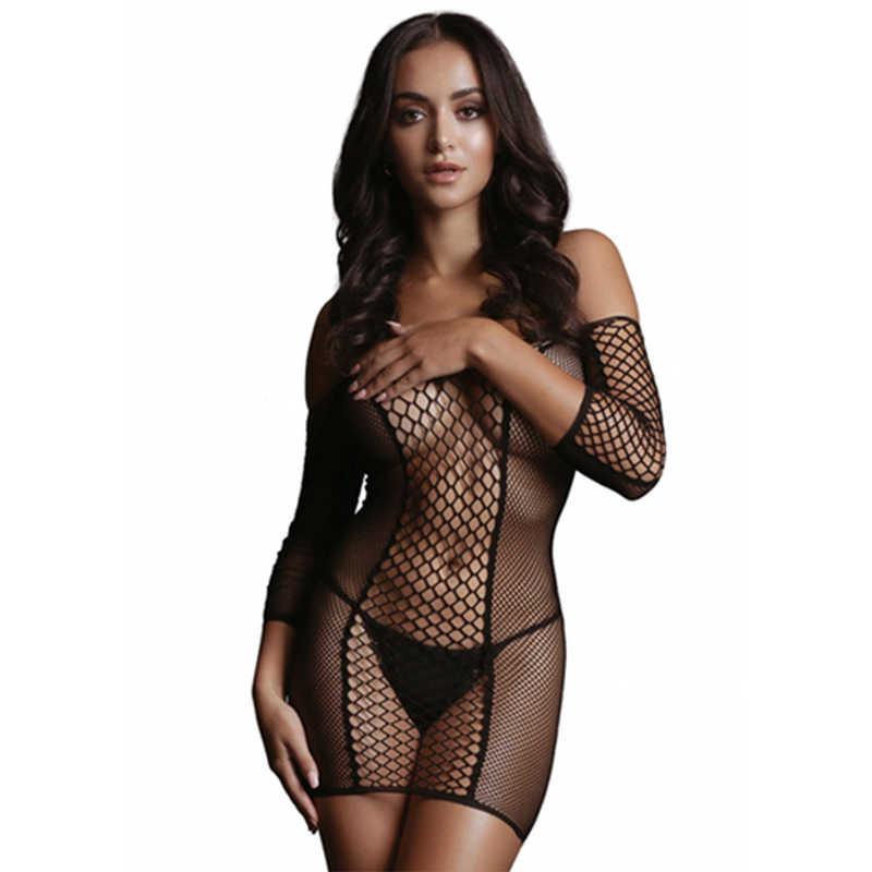 НОВИНКА! Миниплатье Duo Net Sleeved Mini Dress мелкая и крупная сетка, с рукавами,  черное, разм.S/L