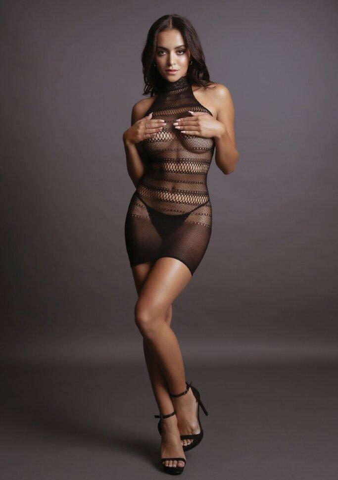 НОВИНКА! Эффектное мини-платье High Lace Neck Net Mini Dress  с высоким воротничком, черное, разм.S/L