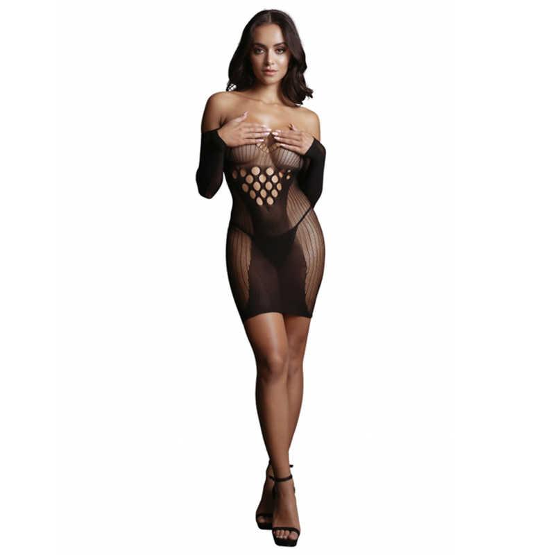 НОВИНКА! Миниплатье эротическое Long Sleeved Mini Dress с контрасным рисунком,  рукавами, черное, разм.S/L