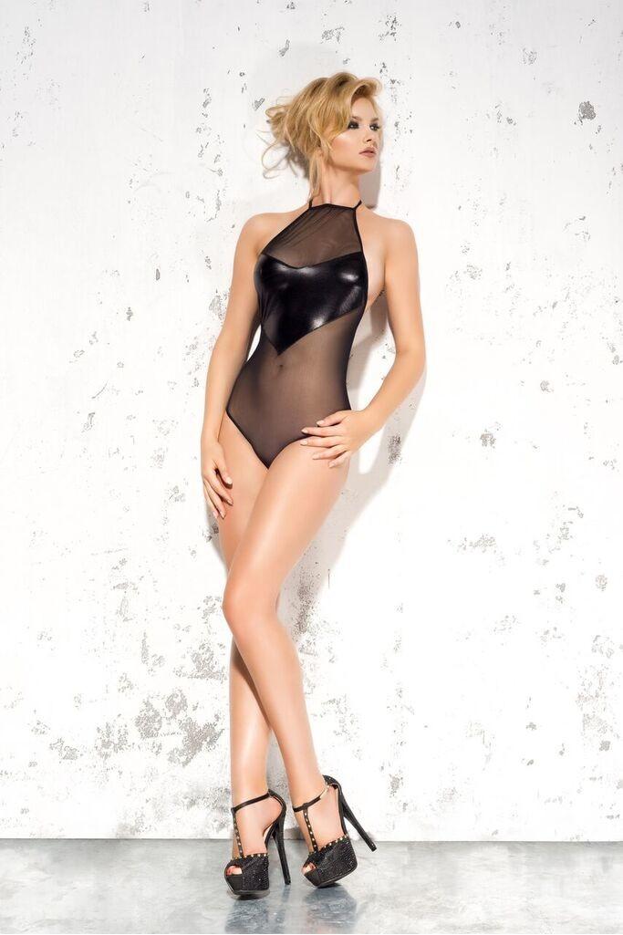 Чувственное прозрачное боди  ME SEDUCE EMMA  с wetlook на груди, цвет черный ,  размер S/M