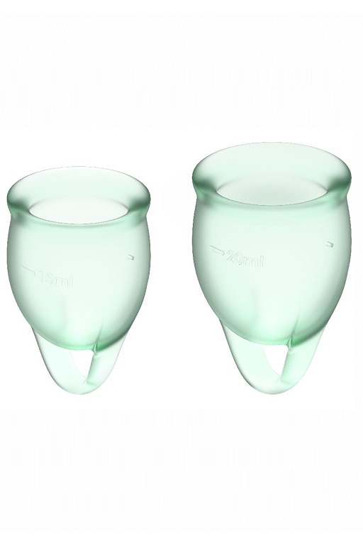 Набор менструальных чаш Satisfyer Feel confident Menstrual Cup  (2 размера), силикон, прозрачно-зеленые