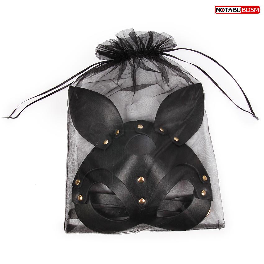 Маска Кошечка. натуральная кожа, цвет чёрный