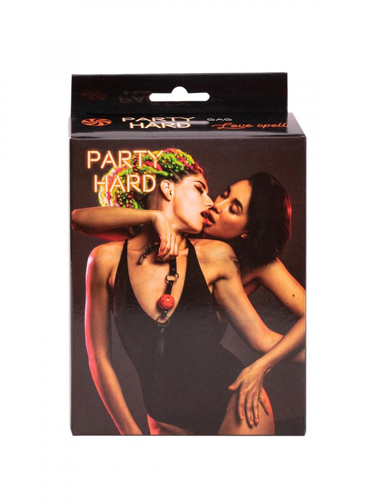 Кляп PARTY HARD LOVE SPELL RED, ПВХ, пластик, черный/красный,  4,5 см