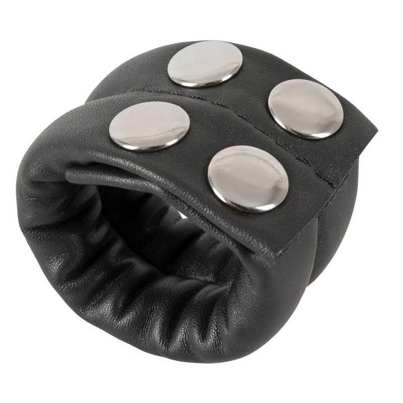 Кольцо на пенис ZADO COCK RING с утяжелителем,  застежками, натуральная кожа, черное