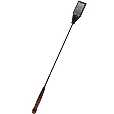 Стек Sitabella натуральная кожа, отделка под металл, деревянная ручка,  черно-серебристый, 69 см