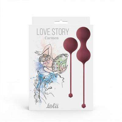 Набор вагинальных шариков LOVE STORY CARMEN WINE RED со смещенным центром тяжести, силикон, цвет - бордо, 3,2-3,5 см