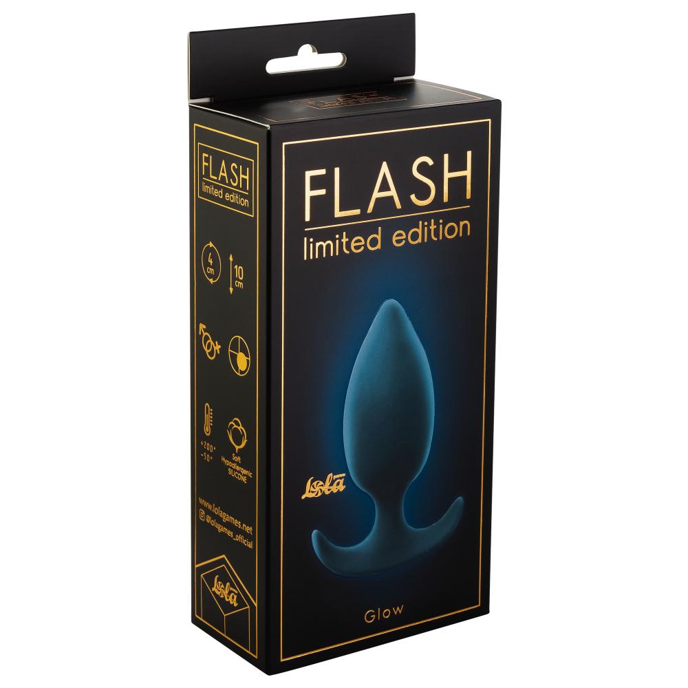 Анальная пробка FLASH GLEAM со смещенным центром тяжести, силикон, серо-голубая, 10(8,5)х4 см