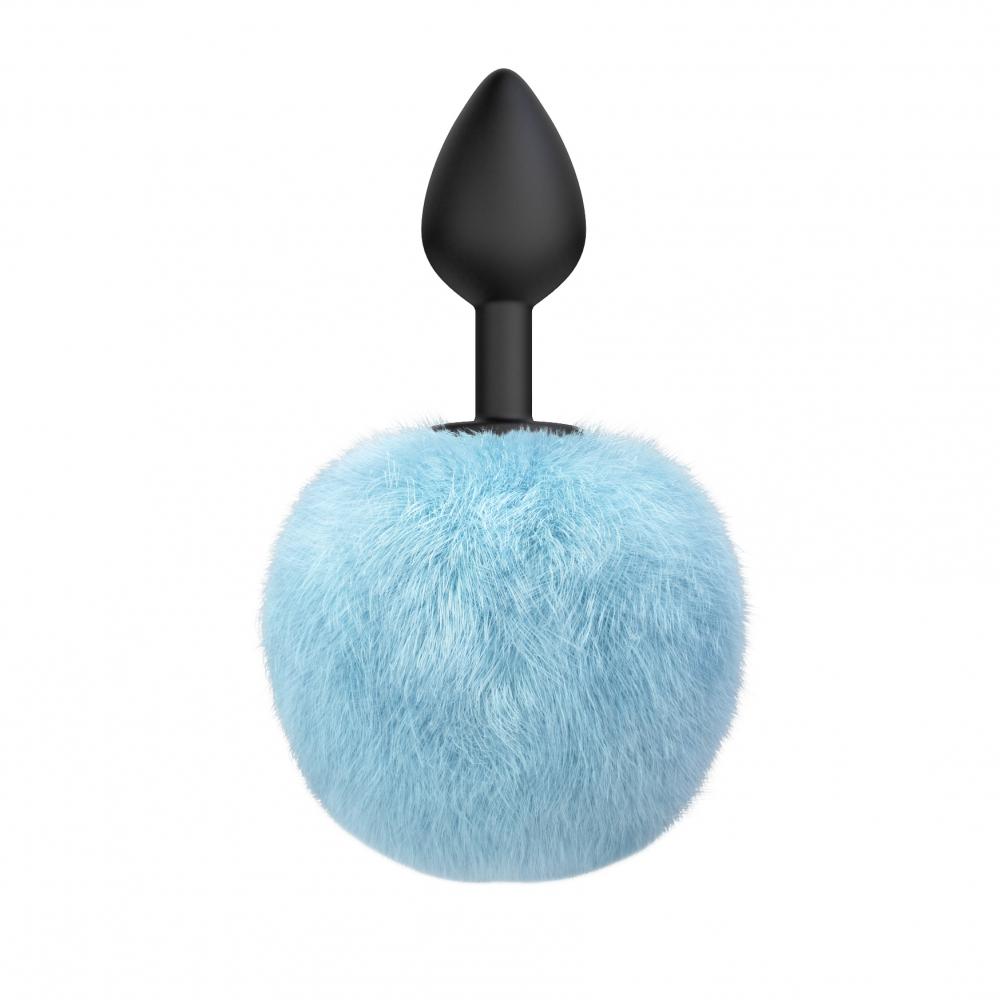 Анальная пробка с хвостиком EMOTIONS FLUFFY BLUE голубой хвост-мех, пробка-черная, силикон, 7х3 см